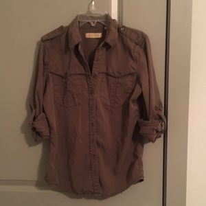 Guess olive green button up